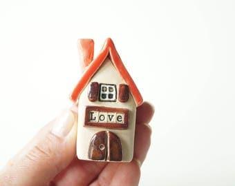 Ceramic Love House, Little Ceramic House, Miniature House Sculpture, Rustic Cottage House