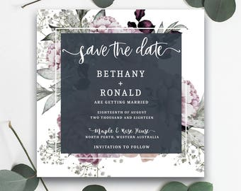 Beautiful Gray & Pink Save the Date - PRINTED