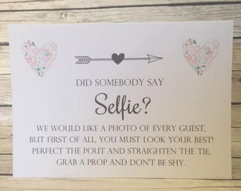 Wedding Selfie print. Did someone say selfie wedding sign ? A5 Size