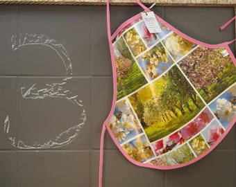 3 years of oilcloth apron landscape flower
