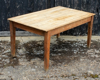 Vintage Rustic Pine Country Kitchen Dining Table