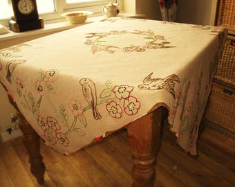 "Free Post Uk Large Rustsic Linen Embroidered French Craft, Brocante, Art, 52"" Square, Tablecloth, Tea Time, Crafts, Birds"