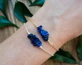 Ships from USA - Lapis lazuli chip bead bracelet - Rustic blue lapis lazuli beaded bar bracelet - Navy blue gemstone bracelet