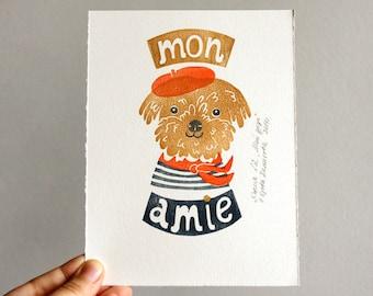 "Hand stamped print ""Mon amie"""