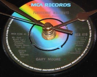 """Gary Moore parisienne walkways 7"""" vinyl record clock"""