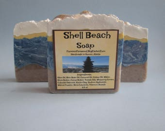 Shell Beach, Beach Theme Soap, Ocean Theme, Shell Soaps, Bar Soap, Melt and Pour Soap, Great Gifts, Birthday Gift Soap, Breezes and Sunshine
