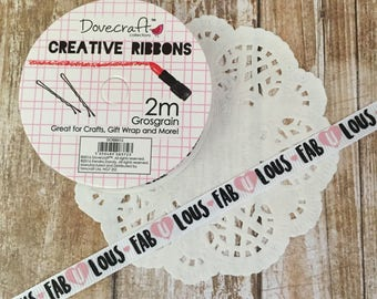 White FabUlous Printed Grosgrain Ribbon Spool - 2m Kiss and Make Up Collection- 10mm wide - Dovecraft