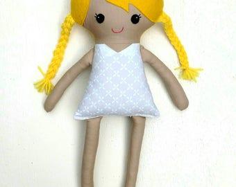 Dress up doll, fabric doll, rag doll, plush doll, blonde hair base doll, soft dress up doll