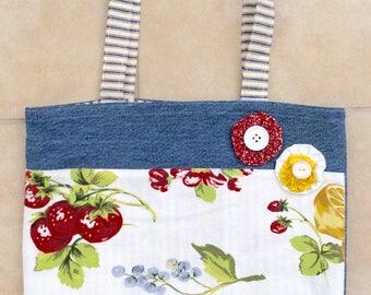 Vintage and Denim Tote Bag. 14 x 12. Repurposed fabrics.Fruit Motif