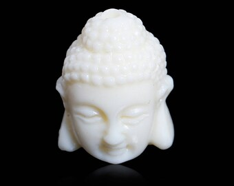 Set of 2 beads Buddha 3 D synthetic coral 16 x 11 mm