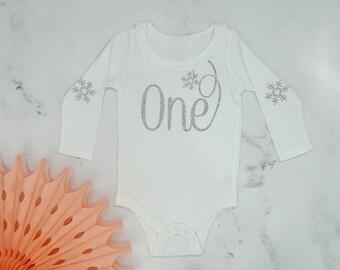 Snowflake Girls Birthday Long Sleeve Bodysuit (Silver Glitter), Onederland Birthday, Glitter Birthday Shirt