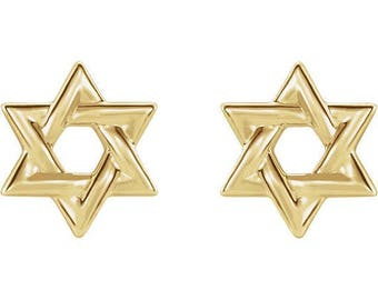 Any Color 14K Gold Star Of David Stud Earrings