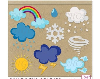 CIJ Digital What's The Weather Clipart. Rainbow, clouds, thunder, rain, snow and funnel cloud Instant Download