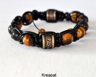 bronze bracelet eye of Tiger-braided leather-carved piece