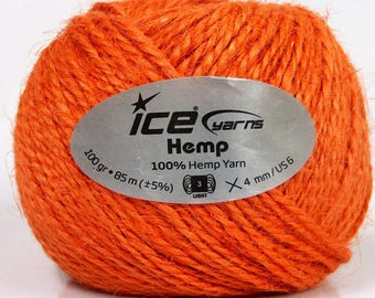 DK Hemp Yarn, Orange Macrame Craft Cord, Natural Hemp Cord, Hemp Rope, 100 gr 85m  Macrame yarn, Jute Yarn, Craft Yarn