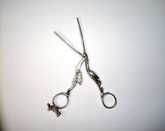 Silver Stork Turtle Scissors, Ribbon Threader Bodkin, Umbilical Clamp, Antique 19th C.