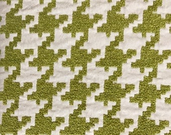 Green and Cream Houndstooth - Textured Upholstery Fabric By The Yard