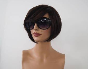 Short Wigs For Women | Natural Human Hair | Brown Wig | Short Wigs For Women | Forever Young Wigs | Wigs with Bang | Light Weight Wigs