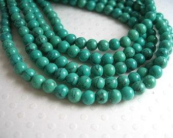 60 imitation turquoise (howlite) stone beads 4mm turquoise Green