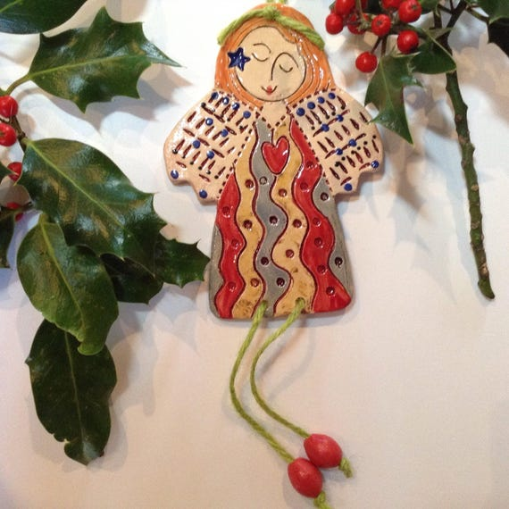 Handmade ceramic angel, fairy, hanging decoration, christmas, ornament