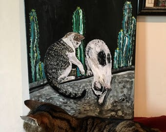 Cats and Cacti Original Painting