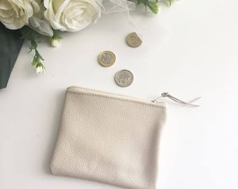 Leather coin purse / cream  leather purse leather pouch /beige leather card holder / leather wallet