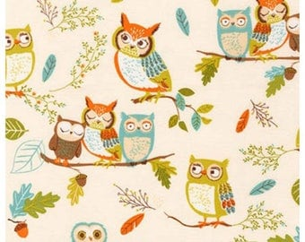 Forest Fellows Fabric Owls in Nature By Robert Kaufman Fabrics Designer Fabric Sold By the Half Yard In One Continuous Cut