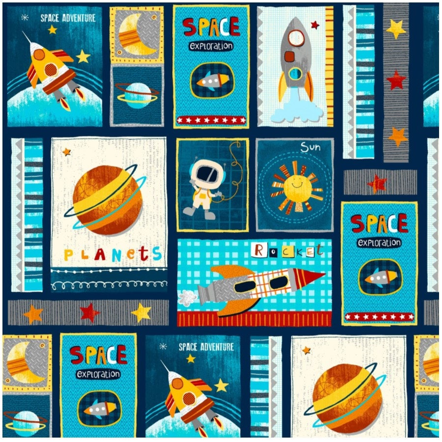 Space adventure by swizzle stick studio from studio e navy for Space photo fabric
