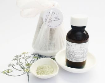 FACE MASK KIT | Gentle Exfoliating Mask or Clear Detox Mask | Ceramic Bowl | Cotton Muslin Facecloth |