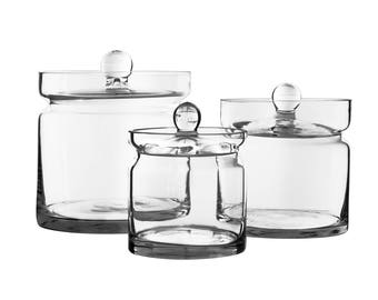 Apothecary Jar Glass Candy Buffet Jar Set of 3 pcs #(GAJ121-121/12-121/15)