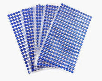 240 adhesive rhinestones glitter electric blue 3 mm