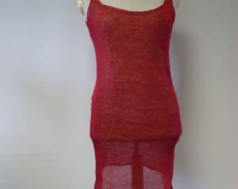 Knitwear red linen transparent top/slip, L size. Perfect for Summer.