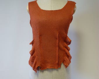The hot price. Summer orange linen top, M size. Only one sample.