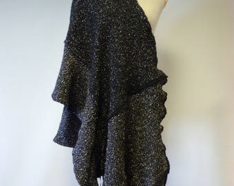 Boho warm salt and pepper felted shawl, perfect for gift.