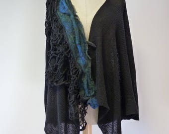 Boho asymmetrical black linen cardigan with amazing wool decoration, M size.