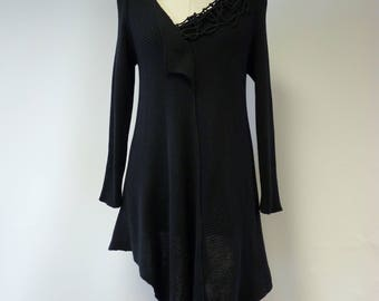 Special price, black asymmetrical sweater, XL size. Made of soft cotton.