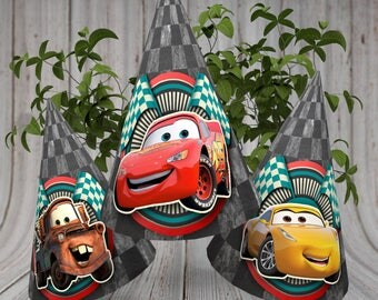 Disney Cars party hats, Disney Cars Printable hats, Disney Cars Party decorations, Cars Movie Printable Decoration, Cars Party Supplies
