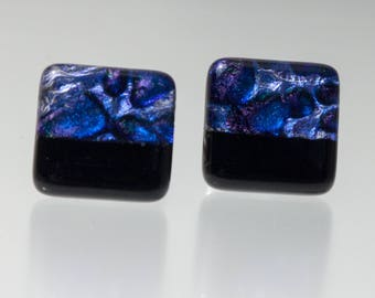 Purple-Black Cuff Links, Glass Cuff Links, Dichroic Glass Cuff Links, Men's Jewelry, Purple Dichroic Cuff Links, Black Glass CuffLinks