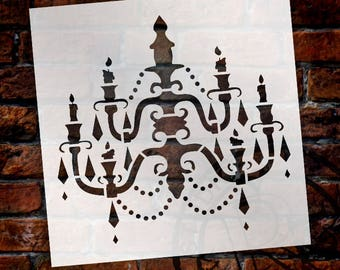 Chandelier - Art Stencil - Baroque - Select Size - SKU:STCL684