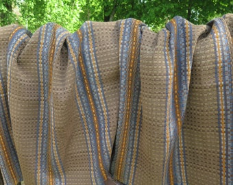 Vintage Woven Bed Cover Chair Throw 190 x 86 cm / 74.8 x 33.8 inch, Brown Blue Yellow Scandinavian Sweden Nordic Bedspread #3-29