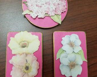 Floral Refrigerator Magnets Set of 3