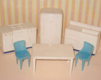 Vintage PLASCO Plastic Dollhouse Furniture - White & Blue Kitchen Appliances, Sink, Table and 2 Chairs