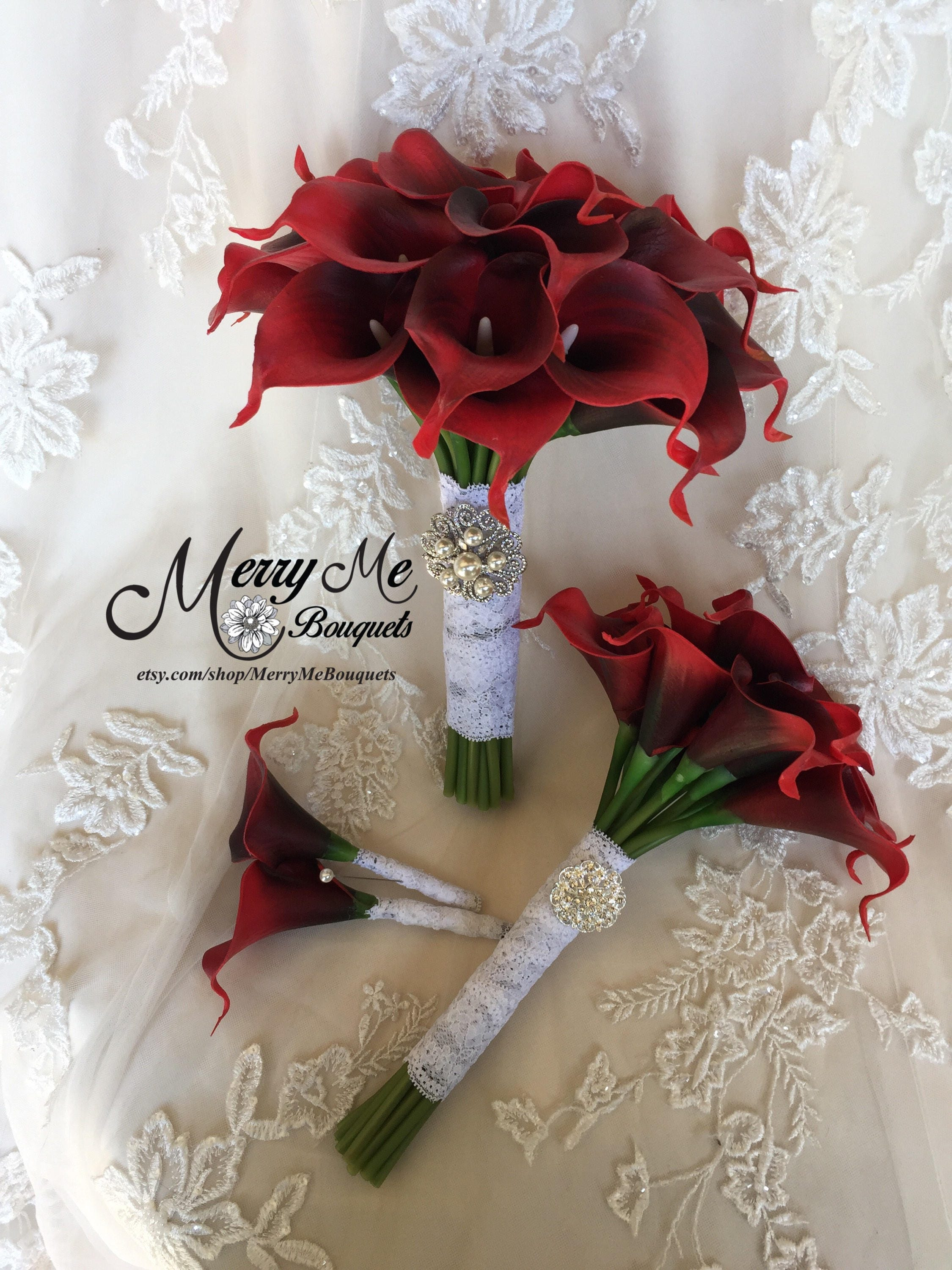Red calla lily bouquet boutonniere