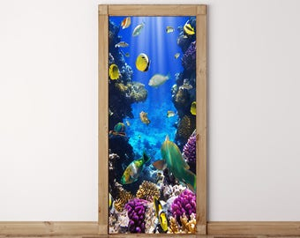 Door Mural Coral fish Underwater - Self Adhesive Fabric Door Wrap Wall Sticker