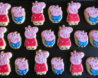 12 PIG  and/or GEORGE inspired vanilla sugar cookies party favor - boy / girl gift - peppa's house and other characters available