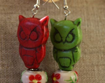Flower Earrings red and green owls