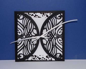Black and white lace envelope wedding invitation