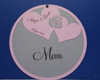 Menu circle heart and pink