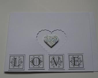 Valentine's Day card white shiny heart