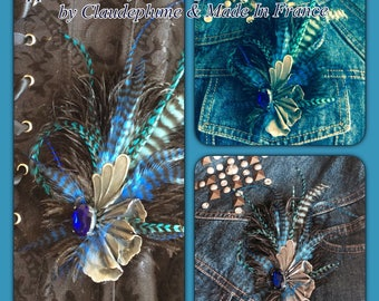 steampunk style applications feathers & metal